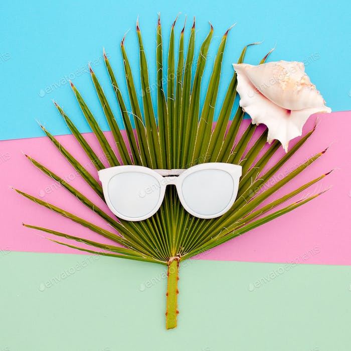 Palm and sunglasses. Tropic sea style minimal