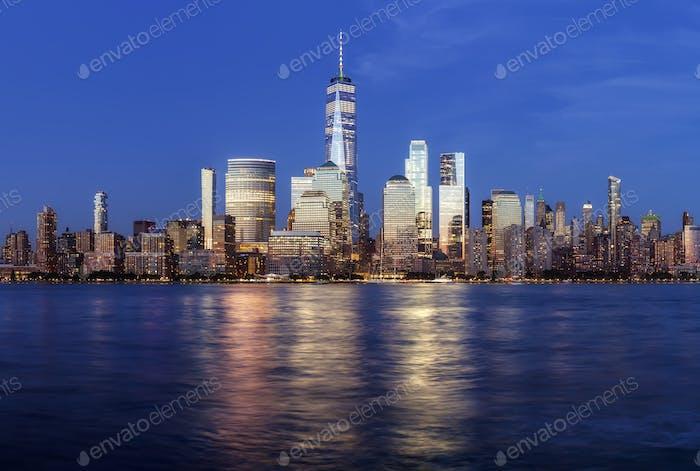 Manhattan at dusk.