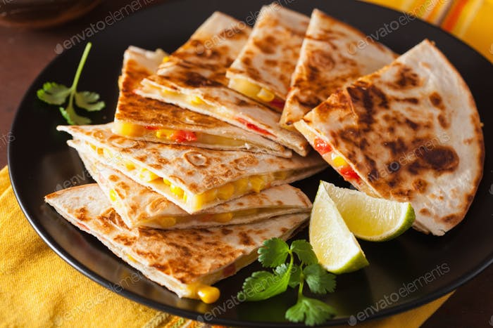 mexican quesadilla with tomato sweet corn cheese