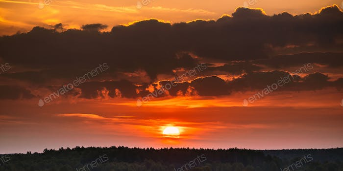 Sunrise Over Forest Landscape. Scenic View Of Sunset Sky With Su