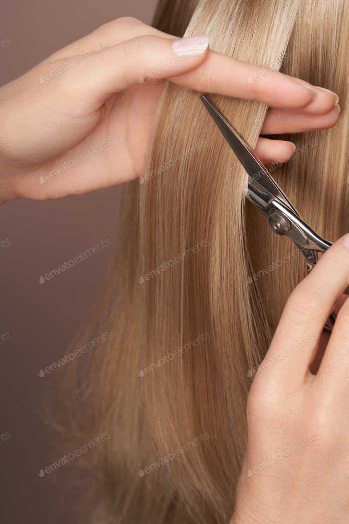 Hairdresser cuts long blonde hair with scissors