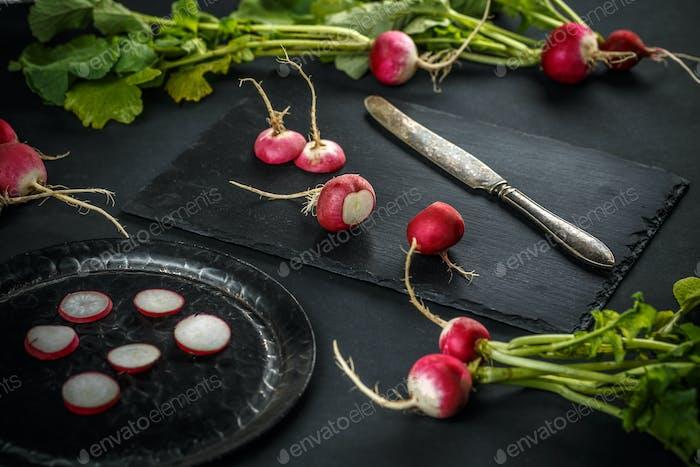 Concept of fresh radishes