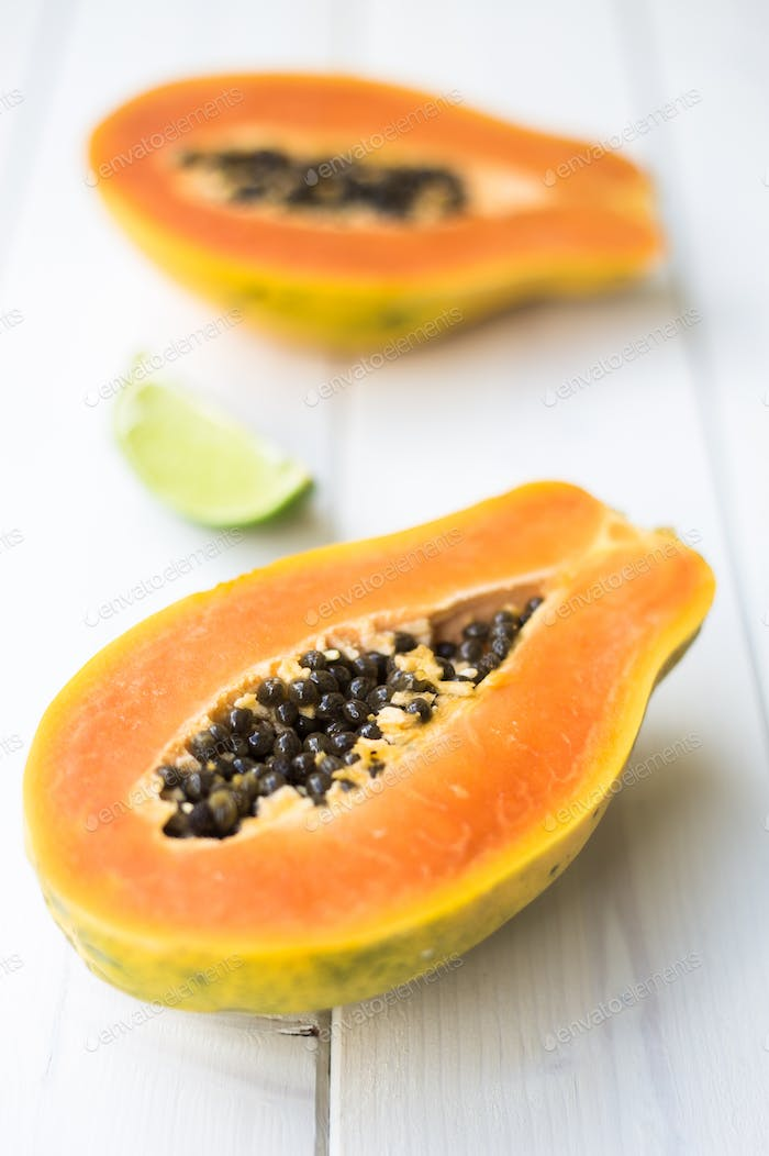 Papaya on A Bright Wooden Table