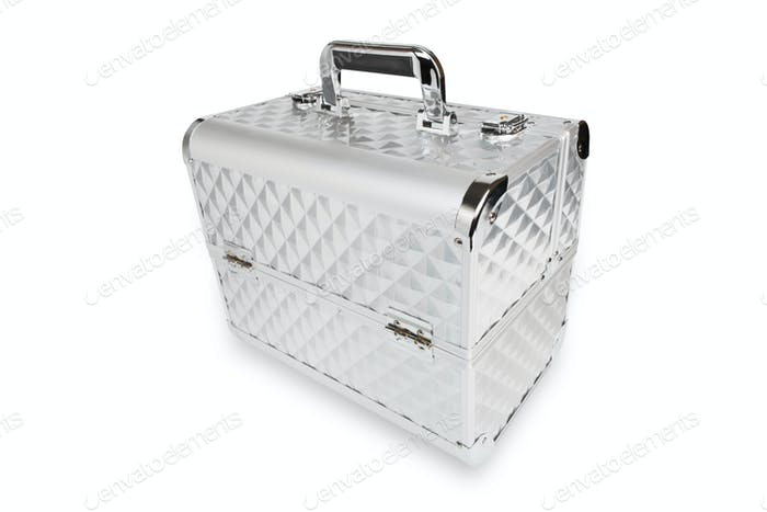 Professional aluminum makeup box isolated