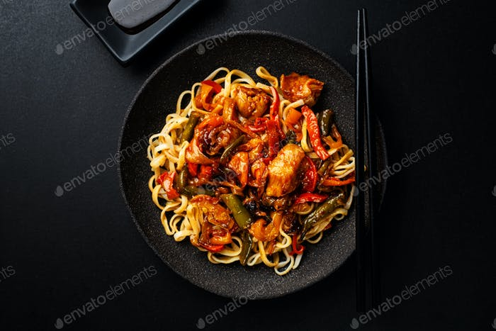 Asian noodles fried with vegetables