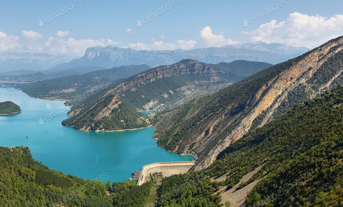 Mediano Reservoir from Samitier castle in Sobrarbe region, Huesca, Spain