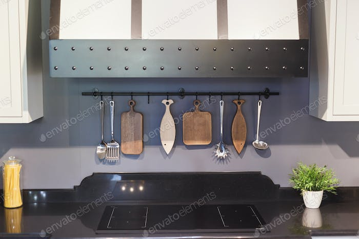 modern kitchen chopping board behind wall interior trend.