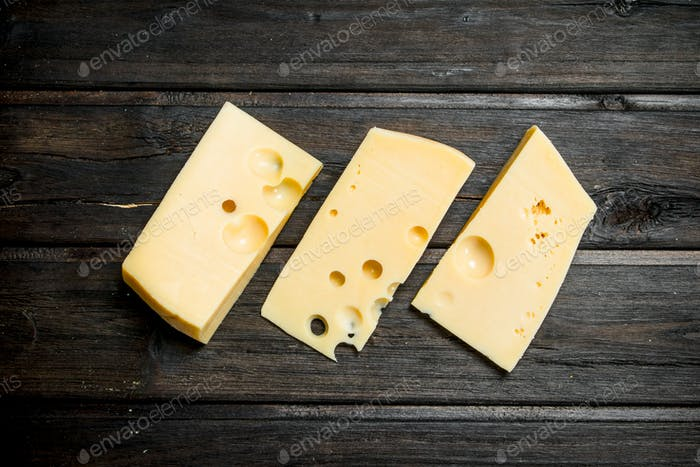 Fresh pieces of cheese.