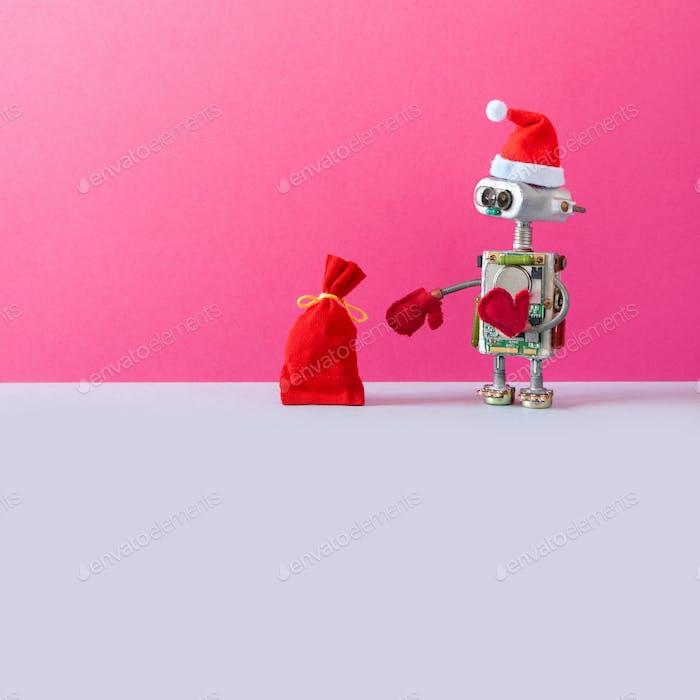 Postcard with Santa Claus robot
