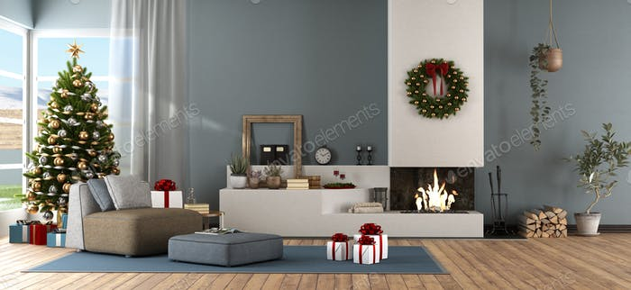 Modern living room with Christmas ornament