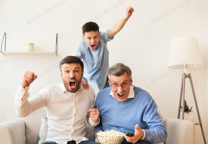 Grandfather, Father And Son Watching Football Match On TV Indoor
