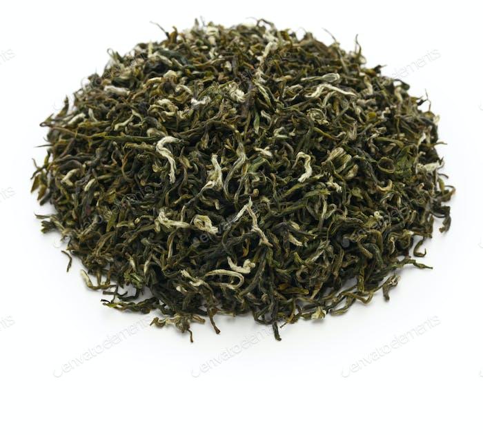 biluochun tea, chinese famous green tea on white background