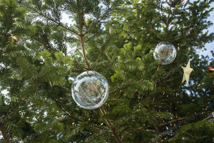 Holidays and decoration concept - Christmas ball on the branches in outdoor