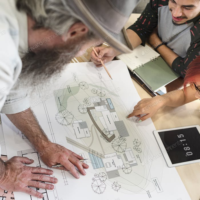 Design Studio Architect Creative Occupation Meeting Blueprint Co