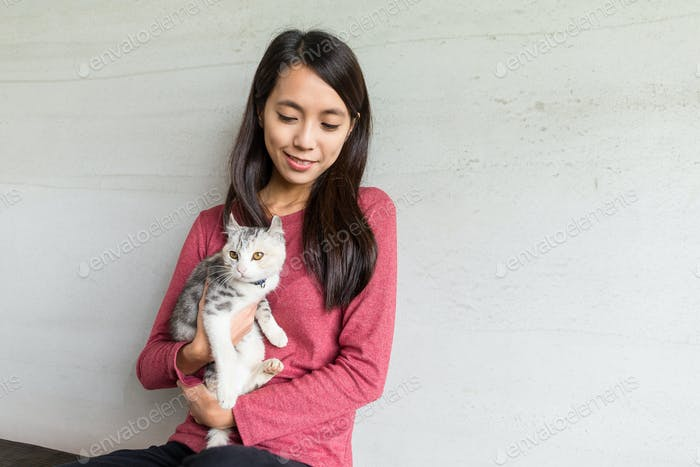 Woman with her kitten