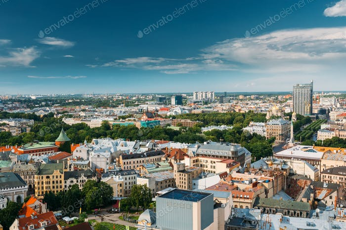 Riga, Latvia. Riga Cityscape In Sunny Summer Day. Top View Of Fa