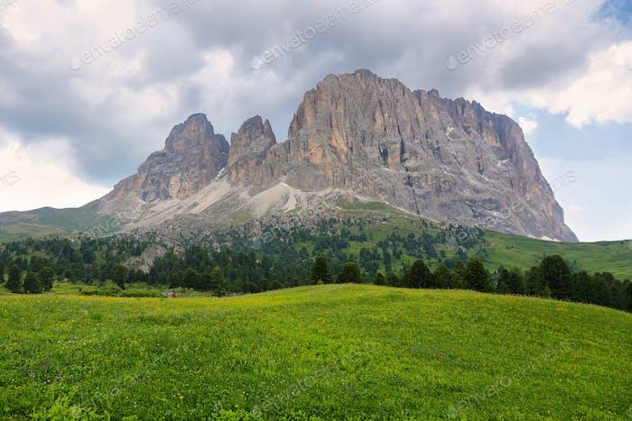Sassolungo and Sassopiatto mountains from Alpe di Siusi or Seiser Alm, Dolomites Alps , Italy