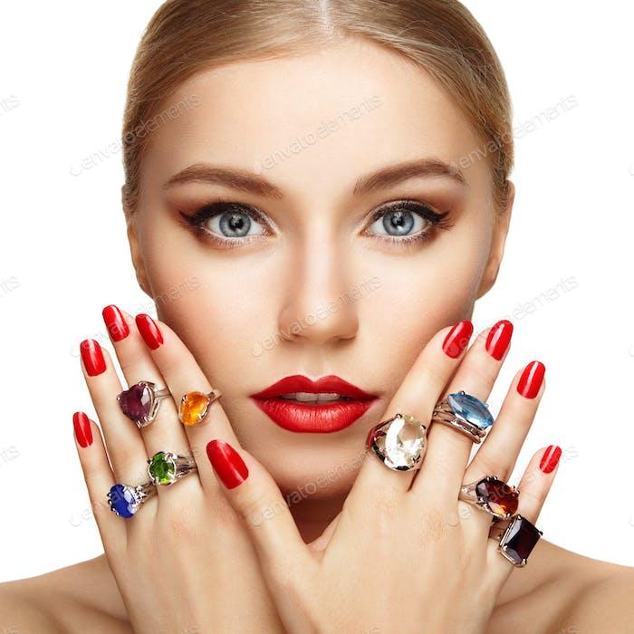 Portrait of beautiful woman with jewelry