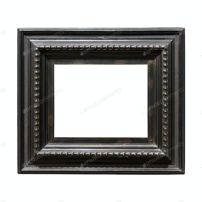 Square wooden decorative picture frame isolated on white background