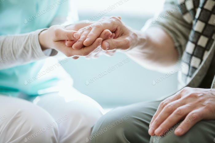 Helping hand for the elder person, real photo