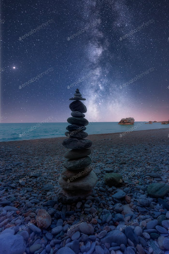 Galaxy & Milky Way Over A Beach 2