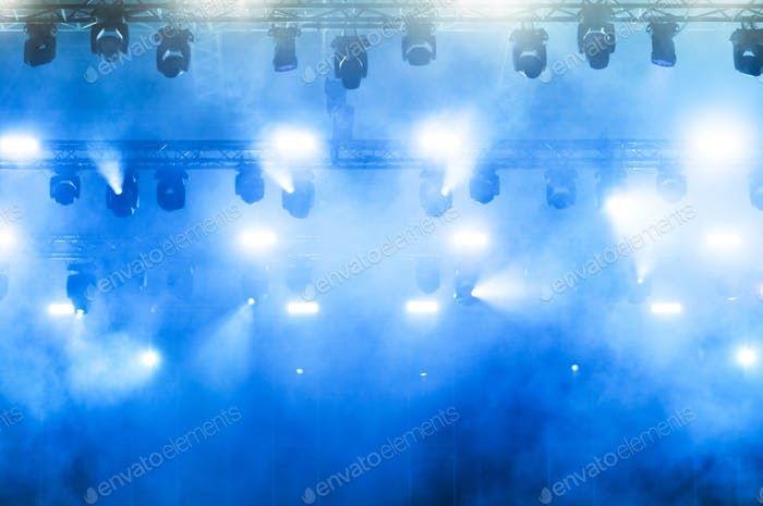 Stage lights during a rock concert. Entertainment industry
