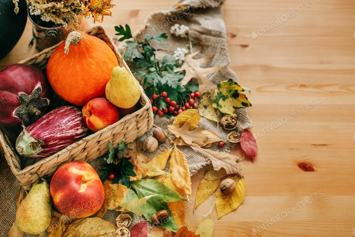 Pumpkin and vegetables in basket and colorful leaves with acorns and nuts on wooden table, top view