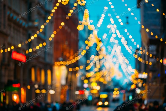 Helsinki, Finland. New Year Boke Lights Xmas Christmas Festive I
