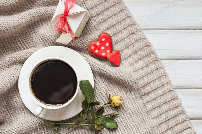Valentinstag herzförmige Kekse, Kaffee