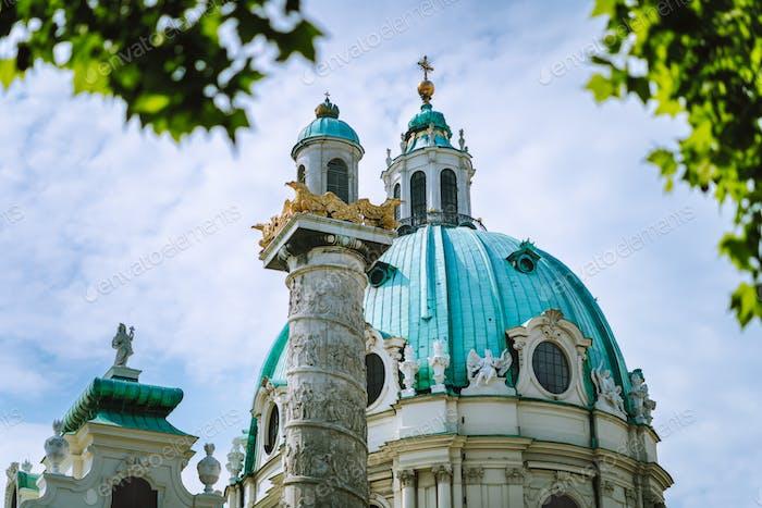 St. Charles Church Cathedral on Karlsplatz in Old city center in Vienna, Austria. Wien in Europe