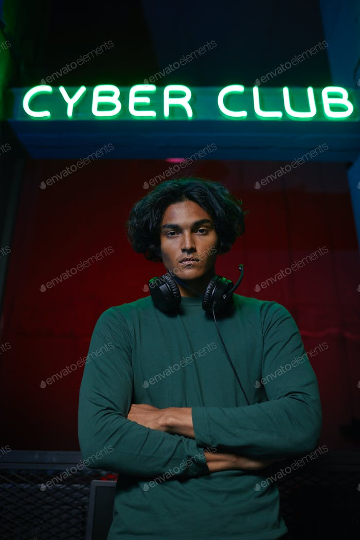 Gamer at cyber club