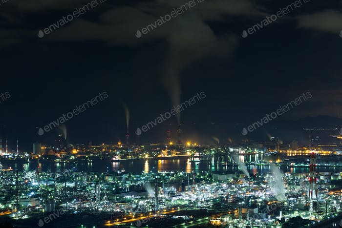 Mizushima coastal industrial area in Japan at night