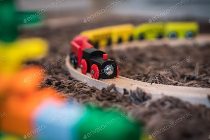 Colourful wooden toy train
