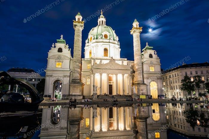 Karlskirche church in Vienna at night