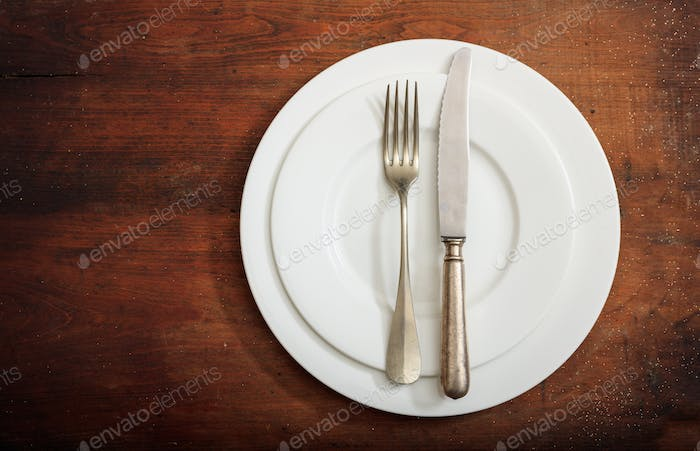 Place Setting, finished signal on wooden background
