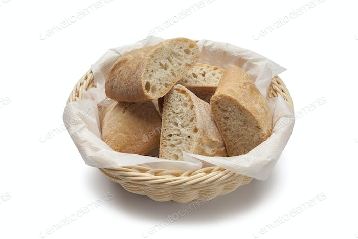 Basket with fresh ciabatta