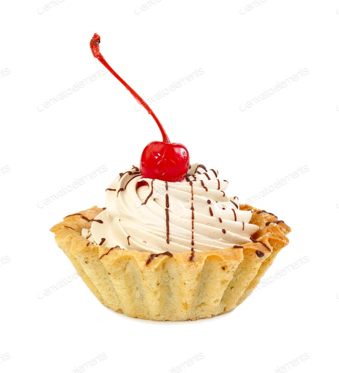 Cake basket with cream and maraschino cherry