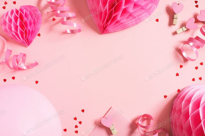 Pink Valentines Day Background with Hearts