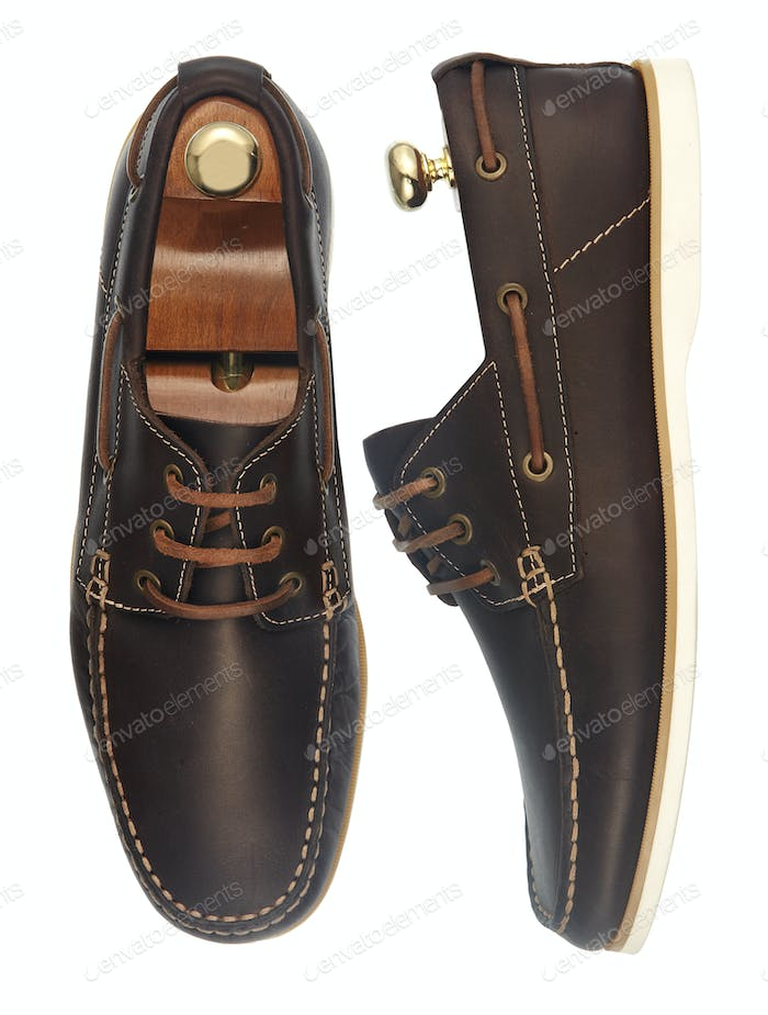 Pair of brown leather summer shoes for men