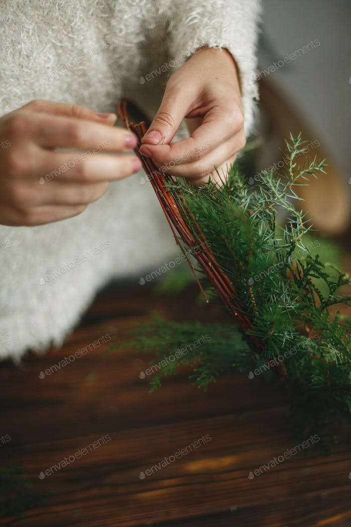 Rustic christmas wreath, holiday advent.
