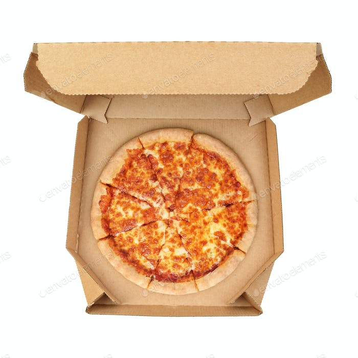 Pizza Margherita in brown take-out box isolated on white background.