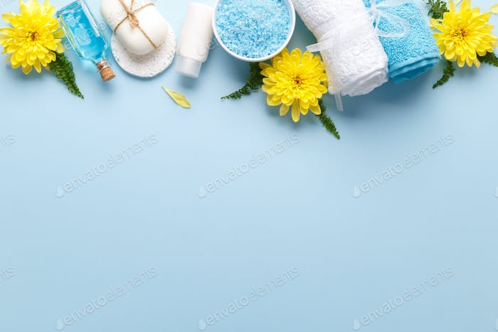 Health care items on blue background