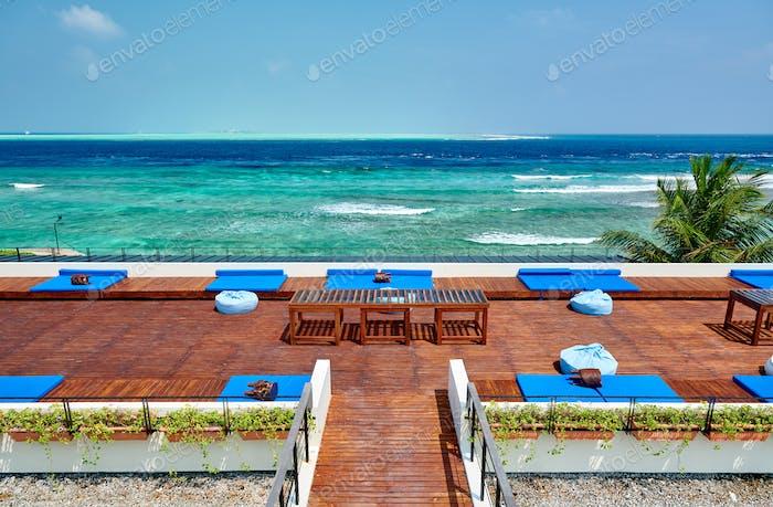Tropical beach with patio deck