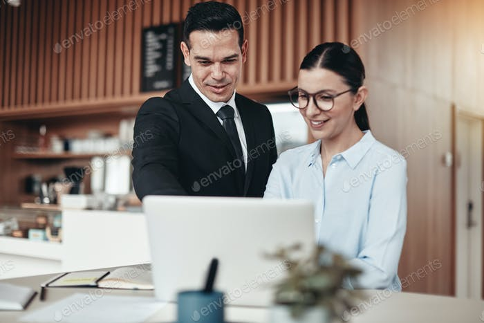 Smiling businesspeople working on a laptop together in an office