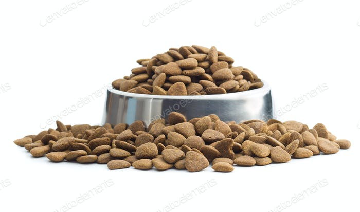 Dry kibble dog food.