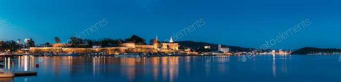 Oslo, Norway. Akershus Fortress In Summer Evening. Night View Of Famous And Popular Place. Panorama