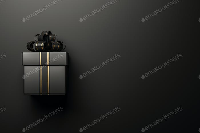 Black gift box on black background 3d rendering