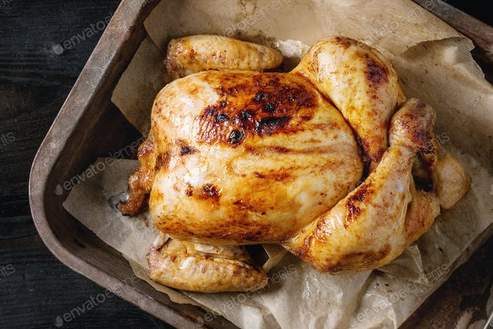 Grilled whole organic chicken