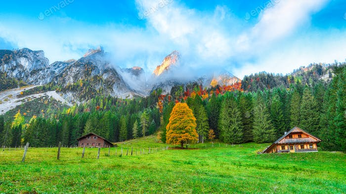 Beautiful view of idyllic colorful autumn scenery in Gosausee la