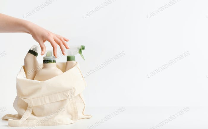 Reusable shopping bag with plastic bottles for cleaning and washing